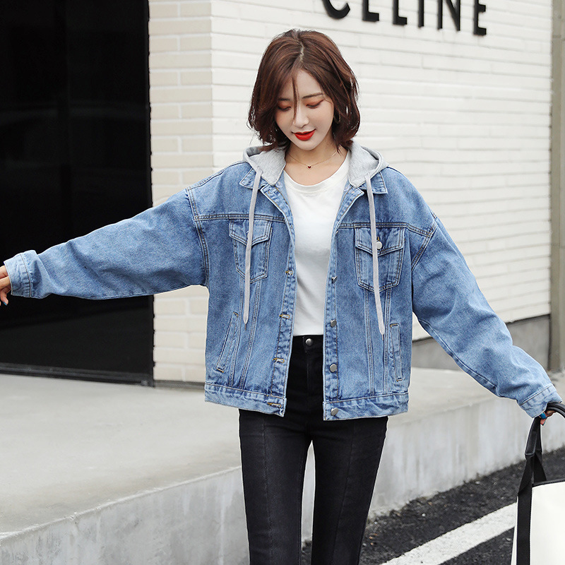 Denim Jacket Womens 2021 new detachable hooded spring and autumn casual loose thin Korean Jacket Top Fashion