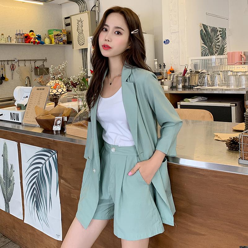 10月21日最新优惠韩都衣舍2019韩版女夏装新款薄款洋气西服两件套时尚套装HO0136魭