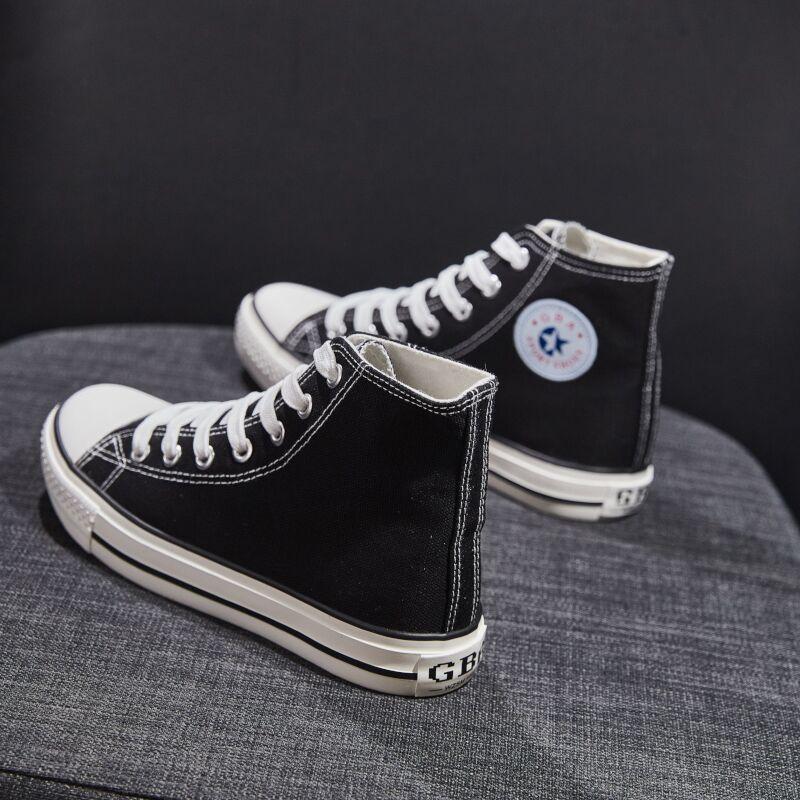 网红超火黑色高帮帆布鞋女鞋子韩版百搭潮鞋ulzzang2019学生板鞋