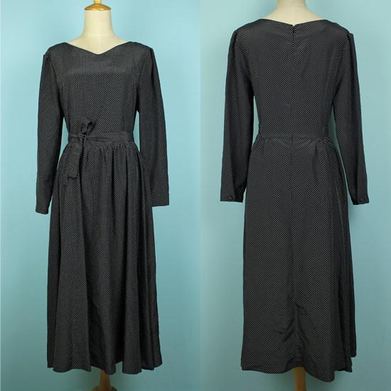 古着Vintage孤品 波点耸肩收腰蝴蝶结飘带百褶宫廷复古超长连衣裙