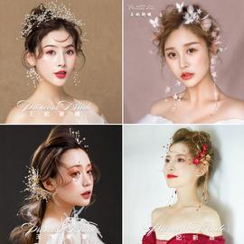 新娘头饰2020新款森系手工花朵结婚发饰超仙韩式伴娘头花婚纱配饰