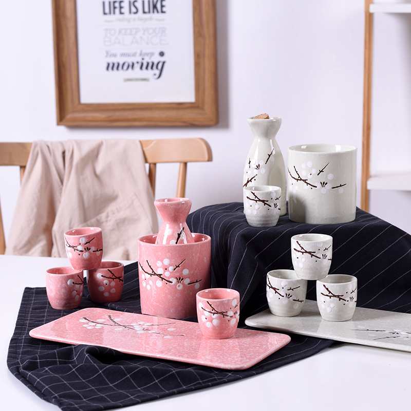 Japanese style hefengqing wine set underglaze color warm wine ware small wine pot ceramic sushi shop hand color small white wine cup