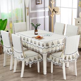 餐桌布椅套椅墊套裝茶幾圓桌長方形布藝餐桌椅套防滑桌罩現代簡約圖片