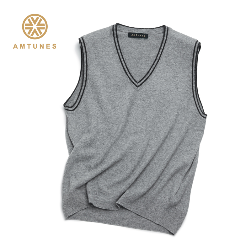 Rhyme song mens cashmere sweater V-neck vest cardigan sleeveless waistcoat autumn and winter warm shirt c13039