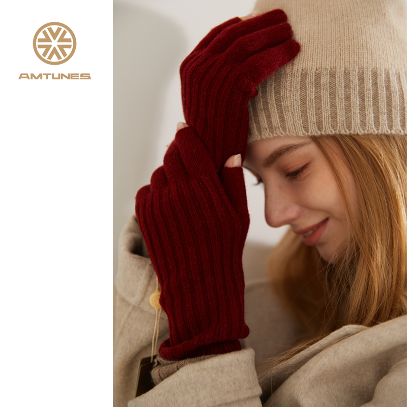 Rhyme song Half Finger Gloves 100% Cashmere womens autumn and winter knitting open finger leakage warm autumn and winter long c28140