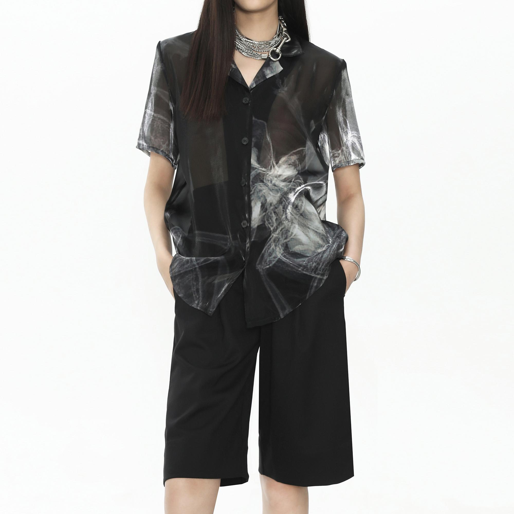 明天藝術家TOMORE ARTIST SS21昆虫印花半透廓形短袖衬衫