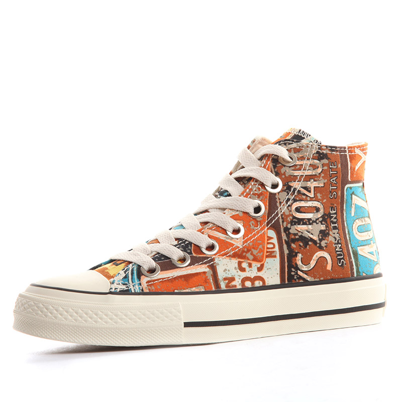 Human-based high-top canvas shoes female 2021 hand-painted trendy shoes students Korean version of wild ulzzang graffiti high-bang cloth shoes