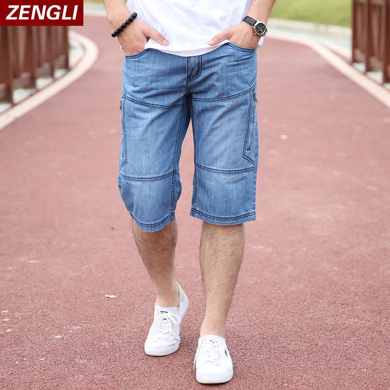 Summer thin mens work clothes 7 points Jeans Plus fat plus size loose straight cotton fat casual shorts