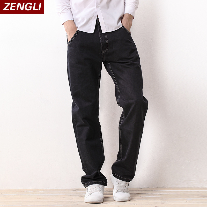 Spring and autumn mens Pants Large Size loose straight tube full cotton thick fat plus plus size black casual jeans