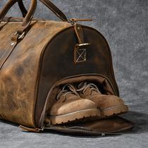 牛皮单肩斜挎手提行李袋复古大容量男士疯马皮旅行包二十四街