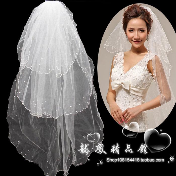 新款新娘婚纱礼服头纱 结婚用头纱新娘配饰珍珠头纱三层舞台演出