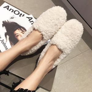 韩版网红卷毛白色毛毛鞋女秋冬学生百搭懒人一脚蹬平底羊羔毛棉鞋