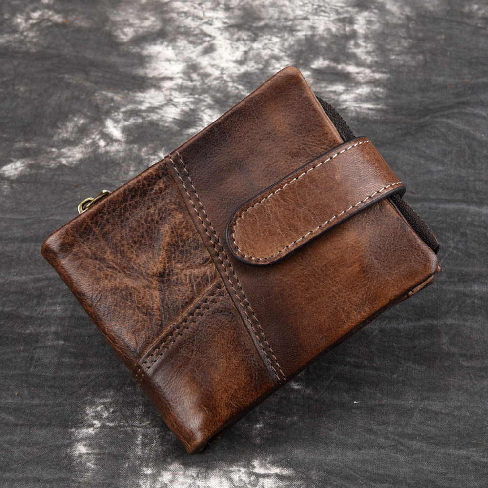 Mens RFID antimagnetic leather wallet mens double fold Wallet casual style wallet cowhide double fold wipe color Wallet