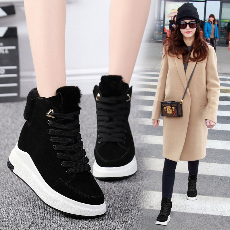 Hip hop shoes high top womens 2019 new Korean version small black shoes slope with hip hop street photography breathable short boots Martin boots