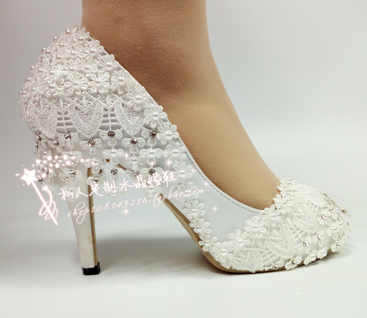 Lace Flower Bridal Shoes pearl diamond word with fish mouth high heel sexy work show wedding dress photo girl