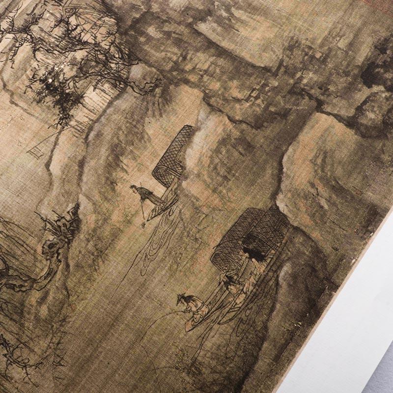 芯宋代山水畫臨摹裝飾畫王詵漁村小雪圖真跡復制原大高清仿古名畫
