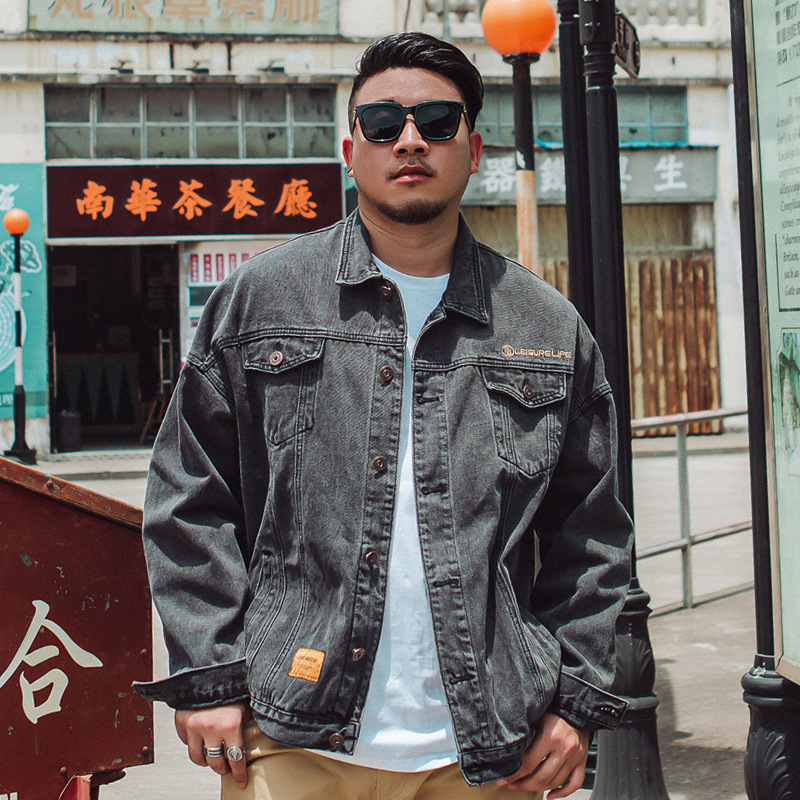 Fashion oversized mens wear plus large fat fat man big size black grey loose casual denim jacket coat