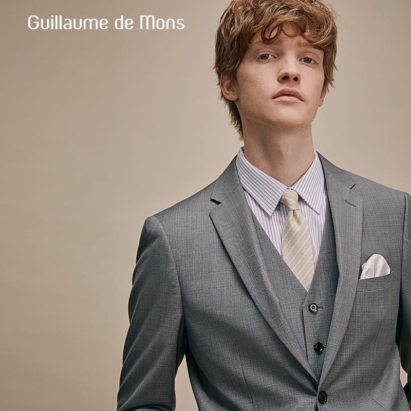 男士灰色羊毛西服套装定制正装新郎结婚礼服三件套修身休闲西装男