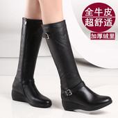 长筒靴真皮女靴坡跟中筒靴女中跟高筒靴长靴雪地靴 INTL BELLE新款