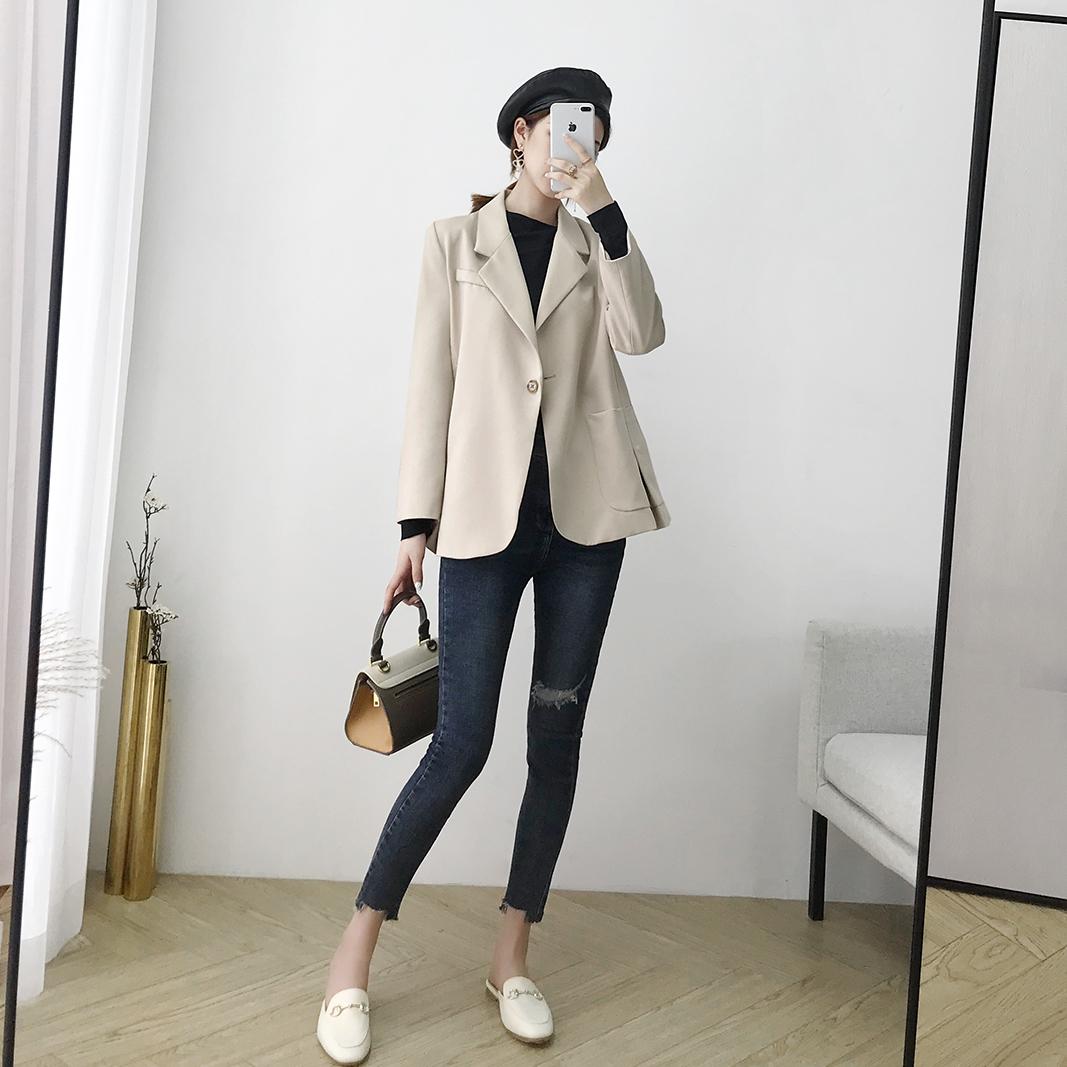 AHS chic小西装套装女休闲2018新款时尚韩版宽松西服外套职业装秋
