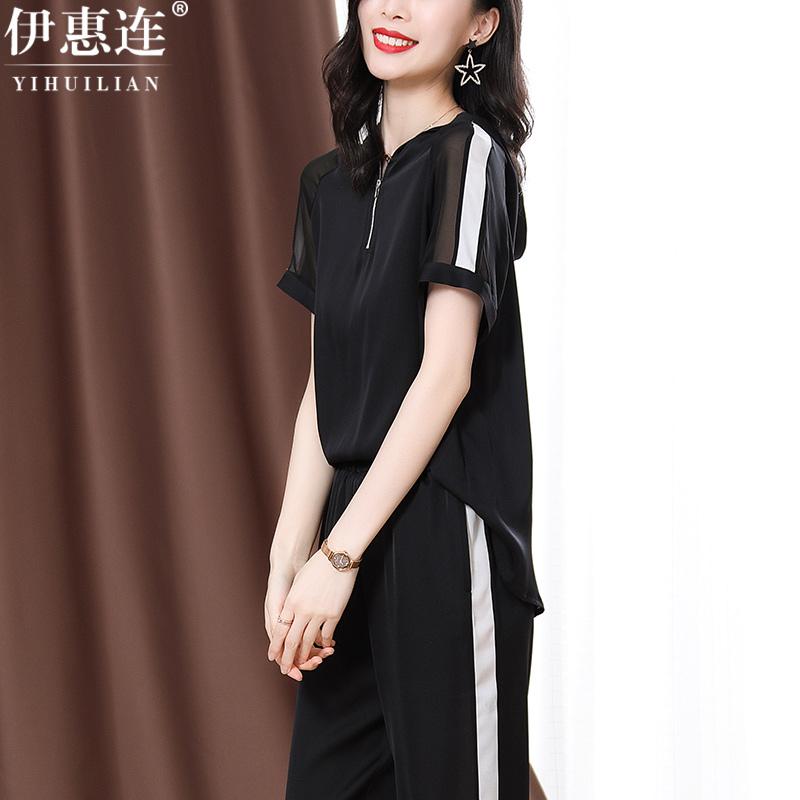 重磅女士真丝上衣女2021夏季新款杭州黑色短袖缎面高端桑蚕丝衬衫