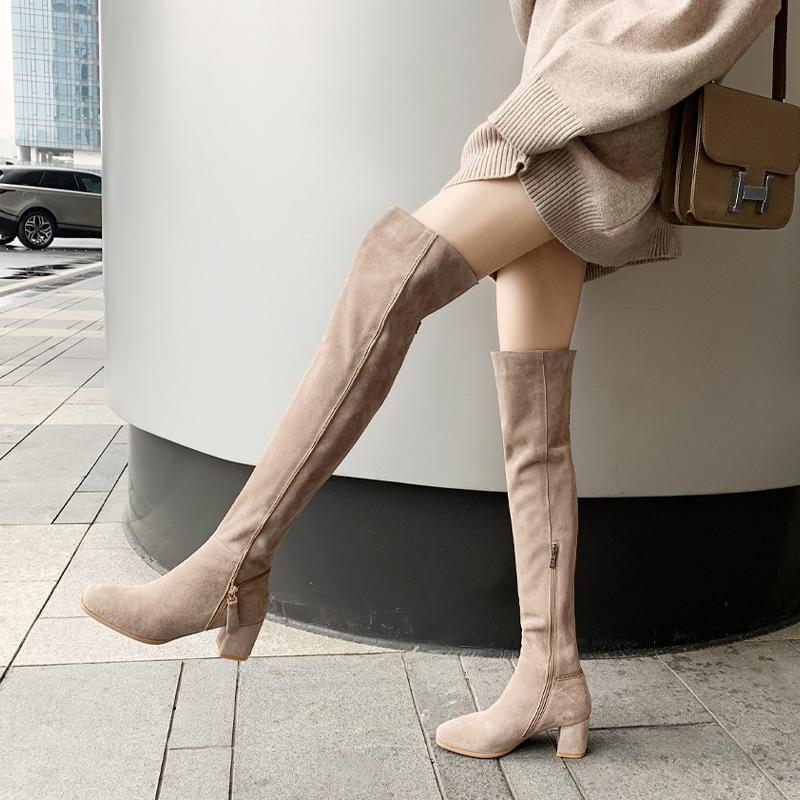 真皮磨砂靴子女长靴过膝靴2020年新款高跟全牛皮长筒靴卡其色高筒