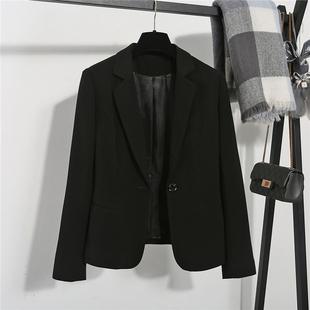 2019春秋韩国chic黑色小西装外套女短款修身长袖休闲职业西服上衣