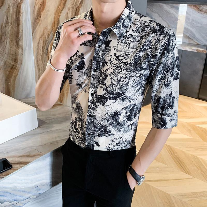 312A-116-P55 2021新款韩版修身帅气花衬衫英伦时尚男士衬衣A