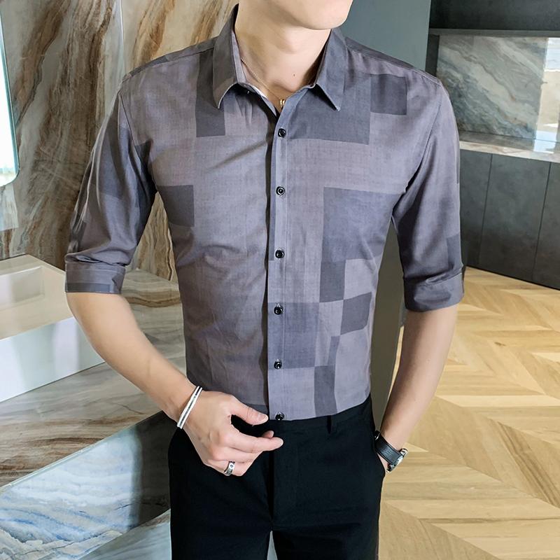 312A-110-P55 2021新款韩版修身帅气花衬衫英伦时尚男士衬衣A