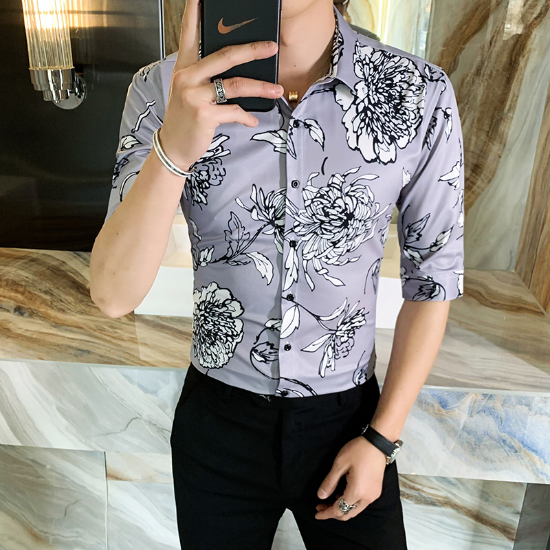 312A-114-P55 2021新款韩版修身帅气花衬衫英伦时尚男士衬衣B