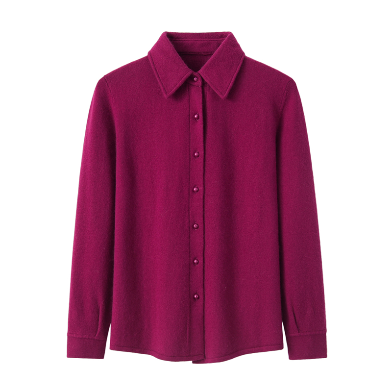 Lapel cashmere sweater womens shirt collar new cardigan sweater professional wear autumn and winter versatile slim solid color warmth