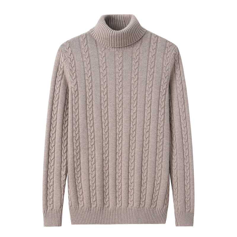 Cashmere sweater mens high collar thickened pure cashmere sweater solid color rib backing sweater autumn winter new sweater