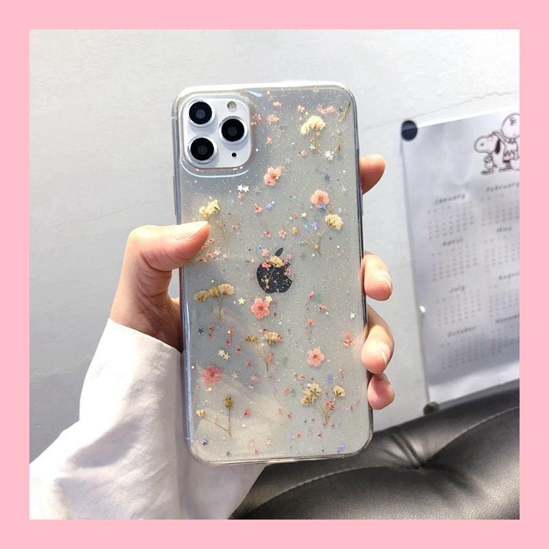 可爱小粉花适用12苹果XS手机壳iphone11promax/7plus透明xr女8p套