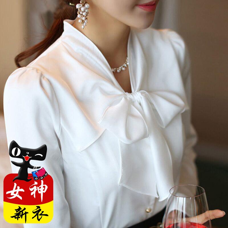 白衬衫女长袖2018新款春装蝴蝶结雪纺早秋上衣加绒职业真丝衬衣寸