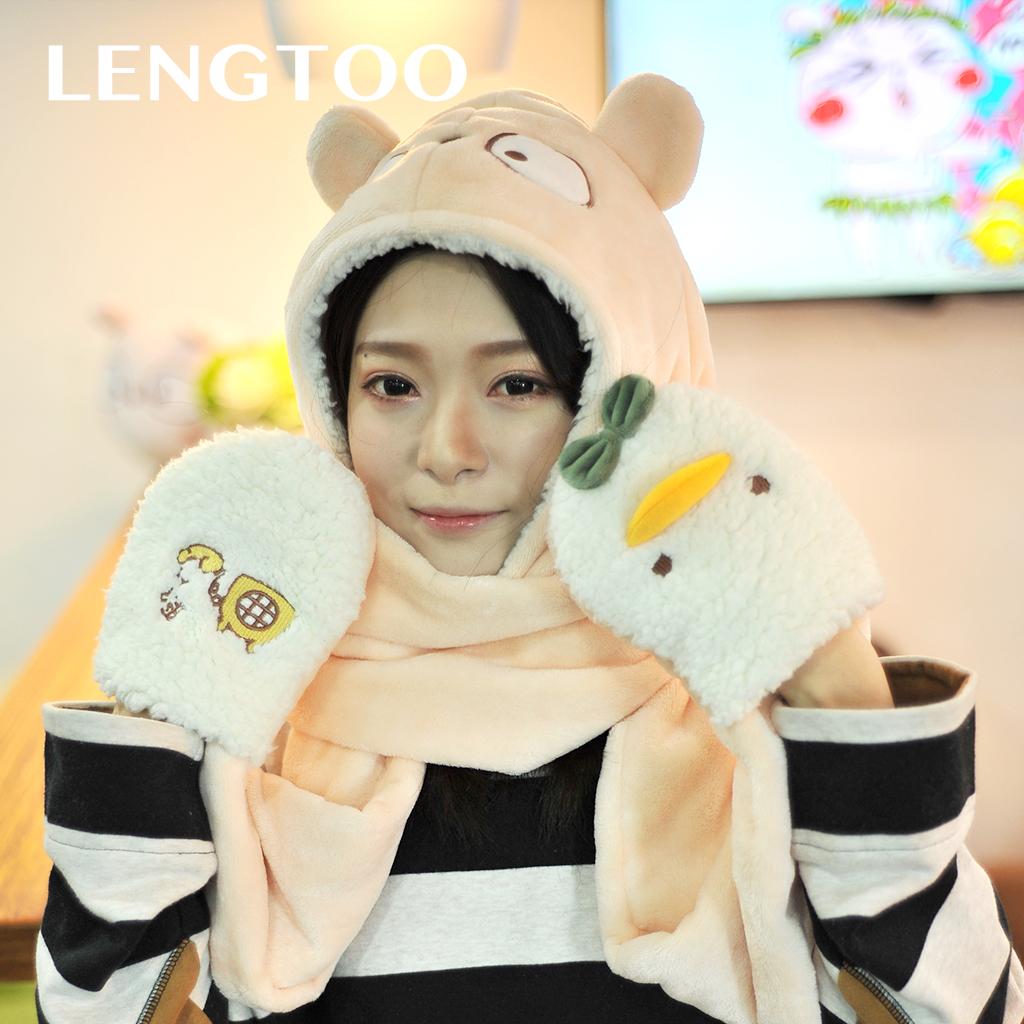Холодный кролик милый уплотнённый сохраняющий тепло коралл нагрудник шарф перчатки шляпа один три образца подарок подарок