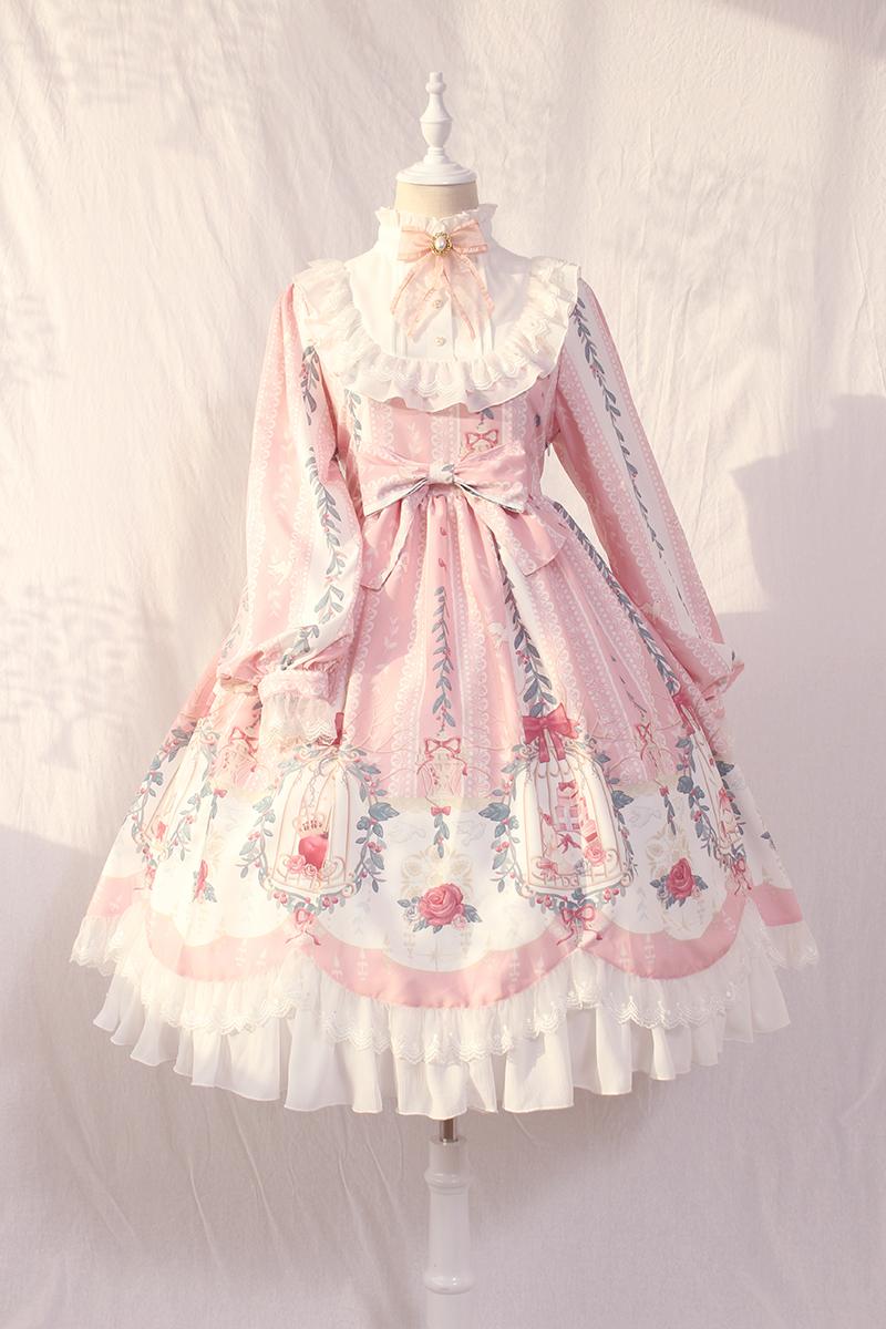 Alice girl原创新款 Lolita笼中梦柄蝴蝶结绑带蕾丝OP 长袖连衣裙图片