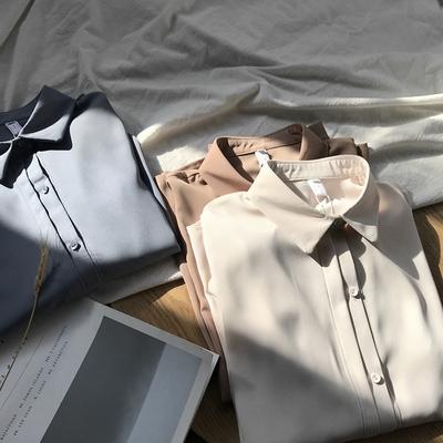2020秋季韩国外贸原单女装纯色百搭港风遮肚子长袖雪纺衫白衬衫