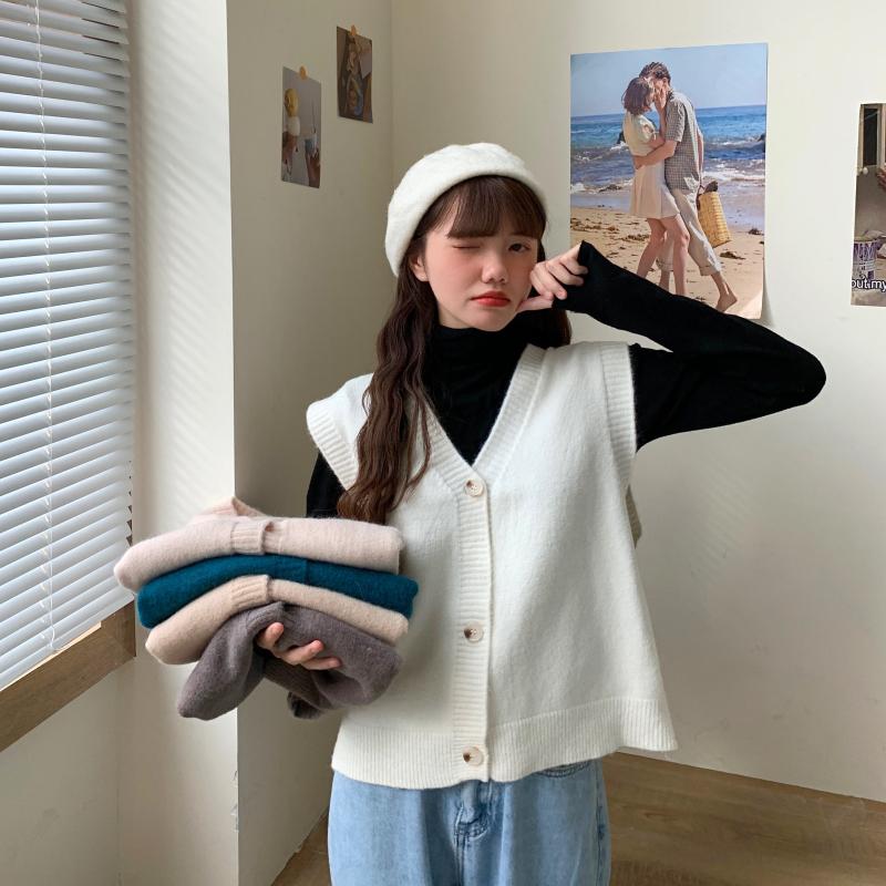 8910#实拍实价 秋冬季针织高领打底毛衣宽松保暖质感羊绒马甲开衫