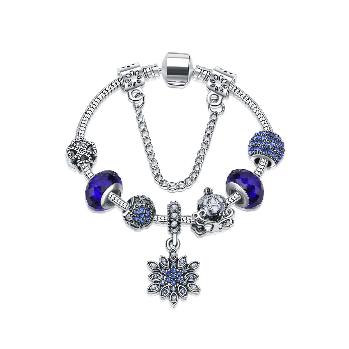 魔法潘多拉天使手链女手镯蓝色海洋之心林心如同款散珠串珠子防真图片