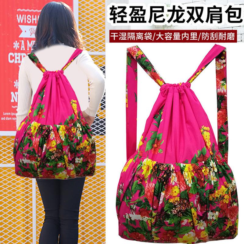 轻便抽绳束口袋花布包中老年双肩包买菜购物袋大容量防水背包女士