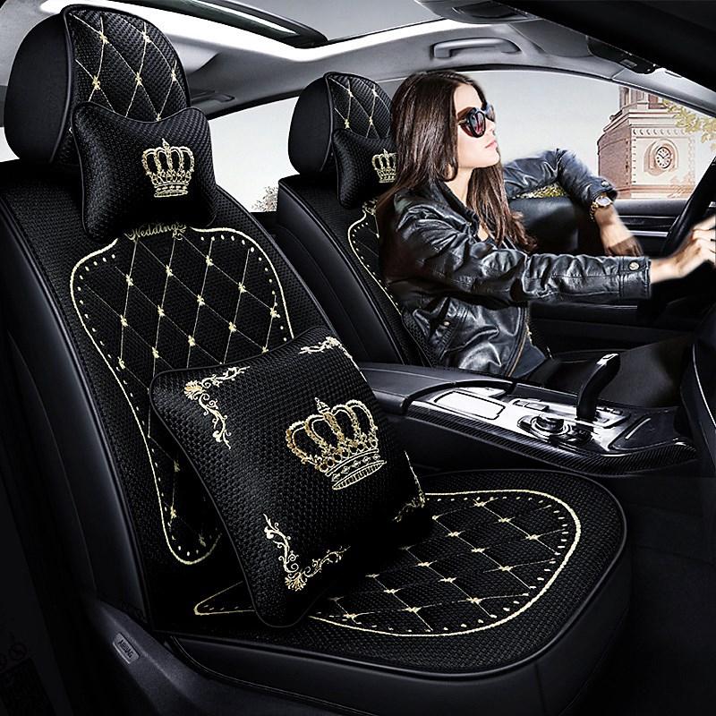 汽车坐垫四季通用全包座套思域英朗骐达座椅套夏季冰丝专用座垫女