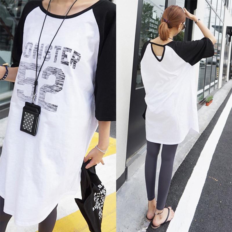 夏季T恤中长款外出短袖喂奶衣韩版产后侧开式字母上衣套头哺乳