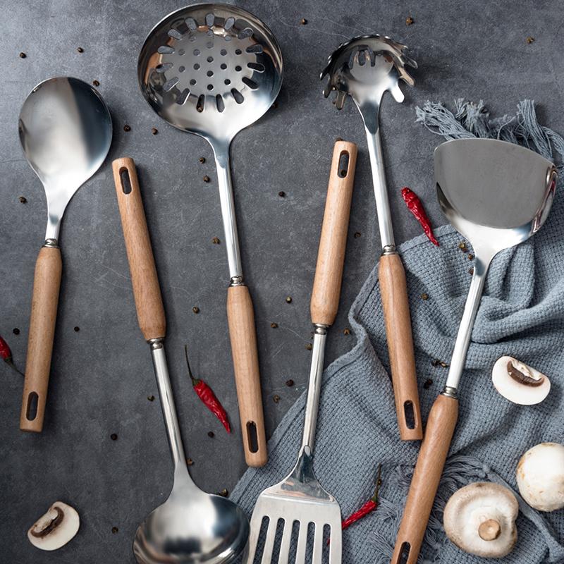 Жарить блюдо шпатель ложка лопата нержавеющей стали установите кухонные принадлежности ложка кухня использование инструмент домой кок инструмент семь частей комплект