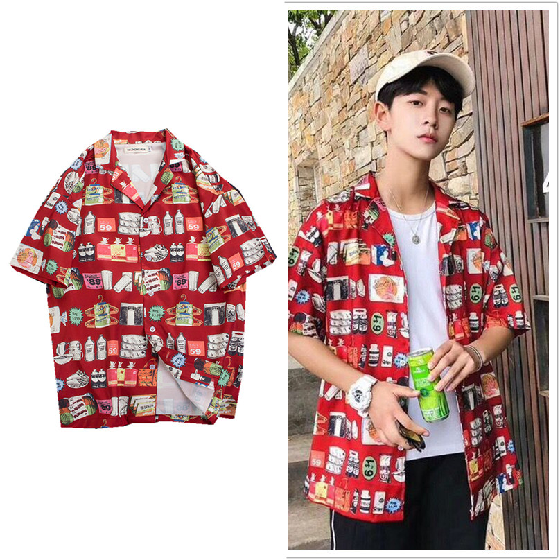 Summer harbor style beach shirt retro trend loose mens Hawaii cool Casual Short Sleeve Shirt Mens dress