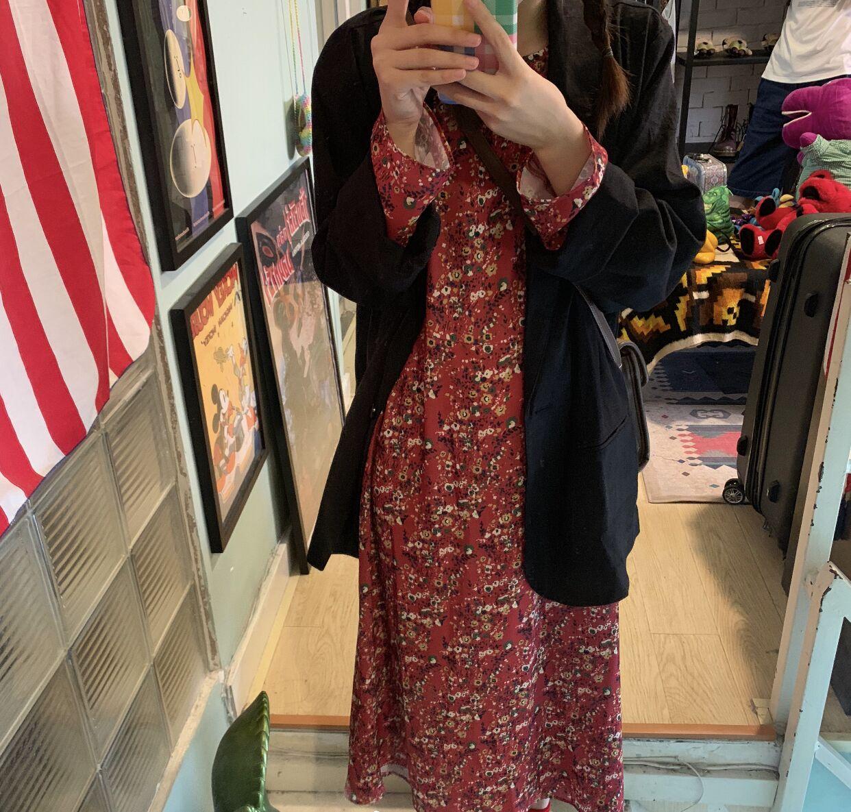 實拍 現貨 韓版初戀很仙甜美小眾雪紡袖碎花+外套