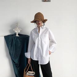 2020秋季侧高开叉不规则设计小众衬衫女上衣韩版新款宽松百搭开衫