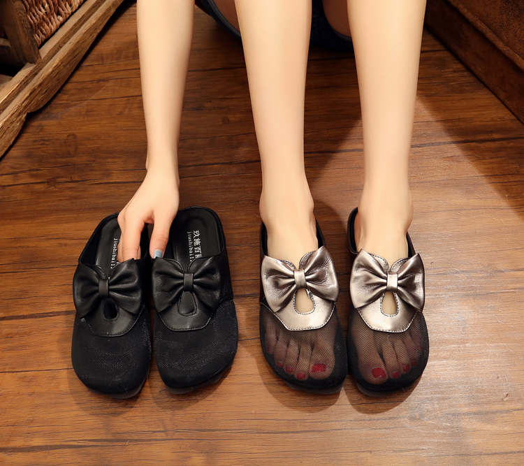 2021 Korean fashion soft soled leather womens slippers Oxford bottom non slip mesh wrap sandals bow Roman shoes