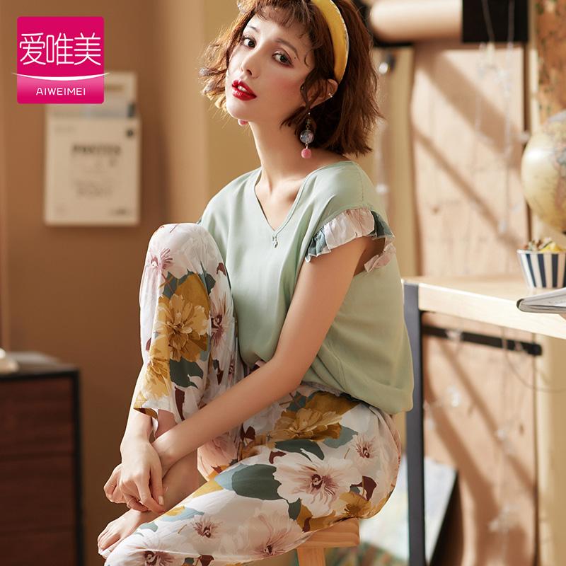 韩版睡衣套装夏季人造棉短袖家居服39.00元包邮
