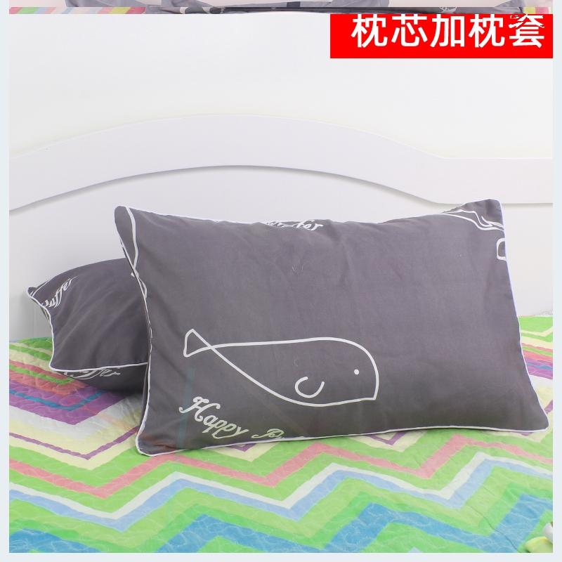 单人学生枕头 宿舍枕芯送枕套成人一个装男女可爱护颈低枕一对拍2