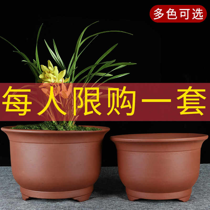 宜兴特大号紫砂兰花盆清仓特价盆景君子兰绿萝陶瓷陶盆阳台种菜盆
